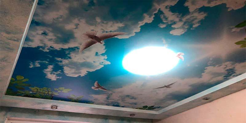 Натяжной потолок с фотопечатью (небо,птицы и солнце)