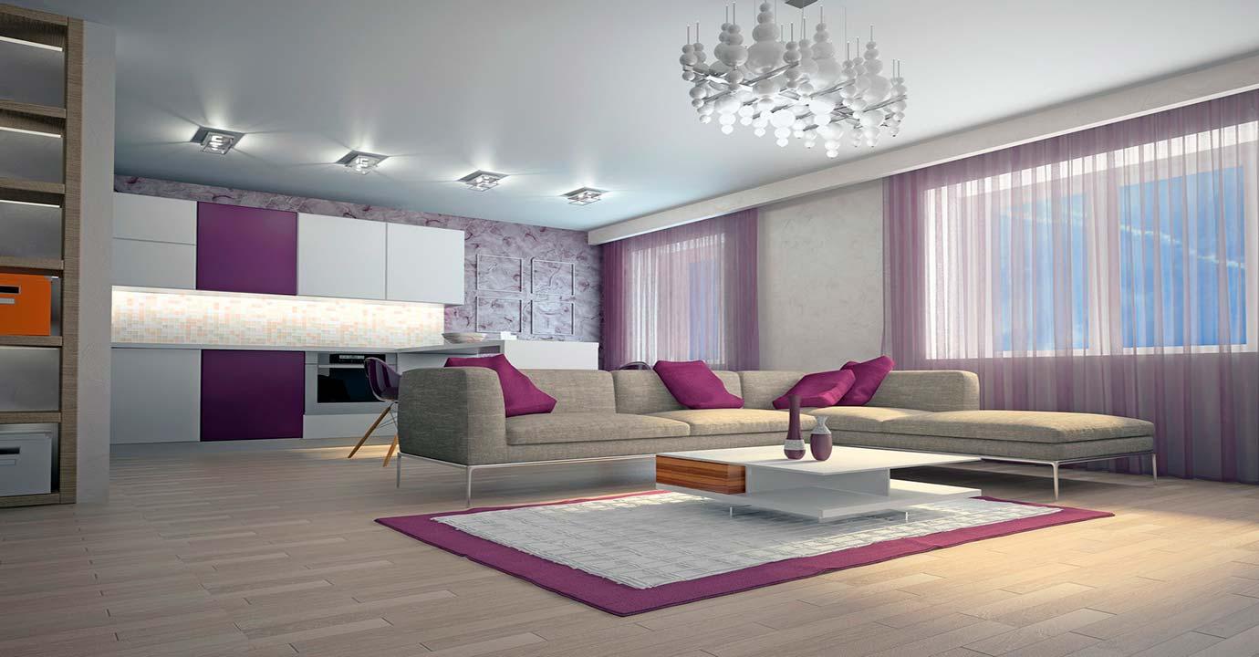 Сатиновый, белый натяжной потолок в интерьере зала
